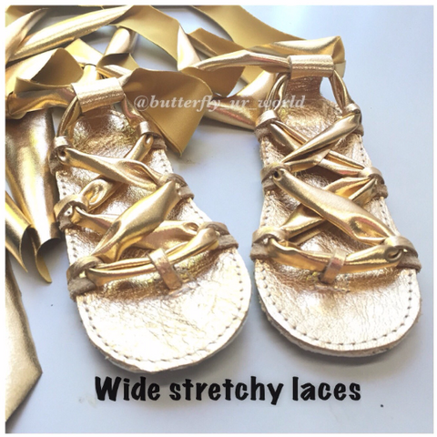 Gold Gladiators with rubber sole - wide stretchy laces