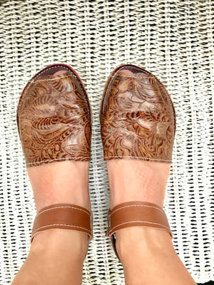 Women embossed tan espadrilles