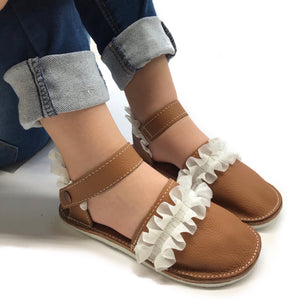 Leather ruffles espadrilles