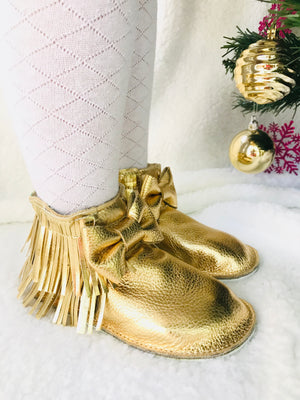 Gold double fringe ankle Boots