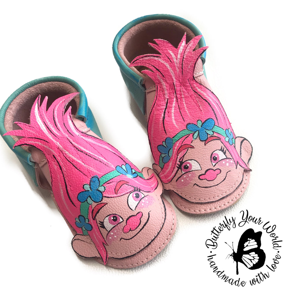 Pink Troll moccasins with rubber soles