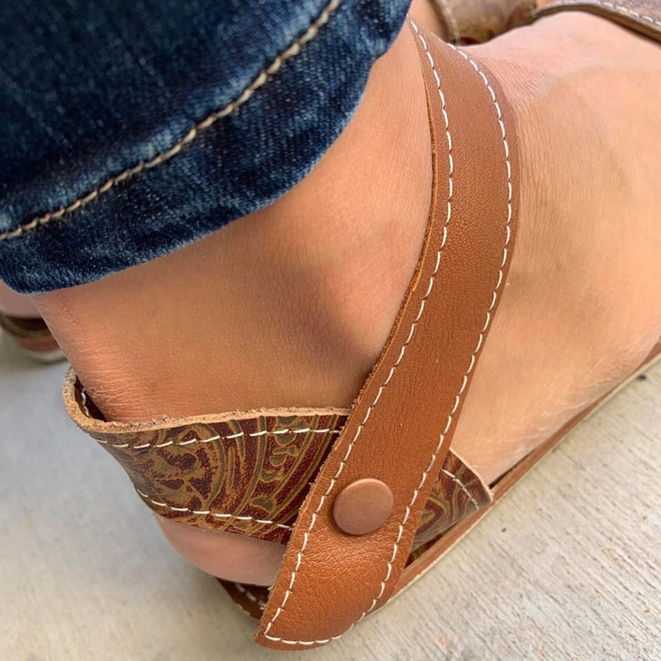 Women embossed tan sandals