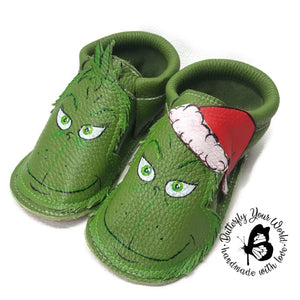 Mean green moccasins with rubber sole