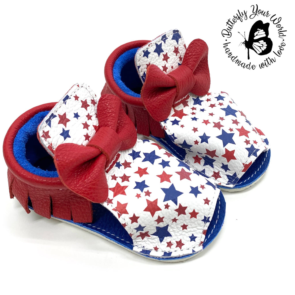 Patriotic sandals with rubber soles
