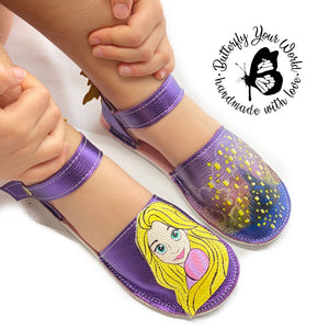 Purple princess espadrilles with rubber soles