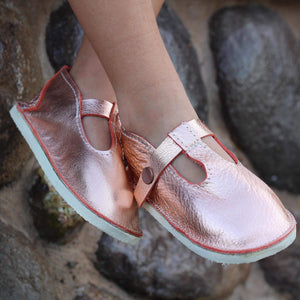 Metallic Rose gold leather shoes