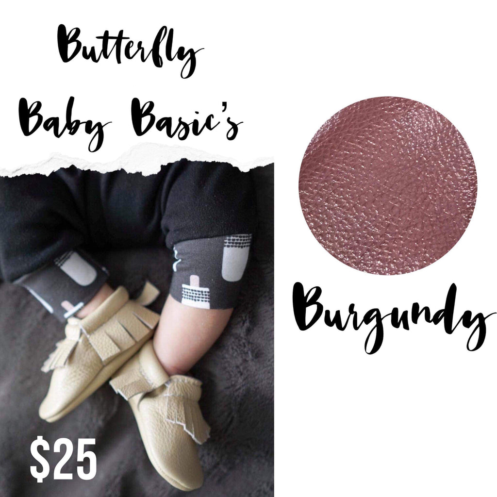 Burgundy Baby Leather Moccasins