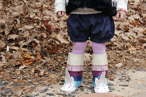 Winterland Unicorn kids fringe boots with rubber sole, boho fringe booties