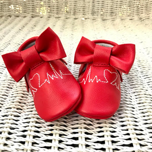 Red EKG heartbeat moccasins