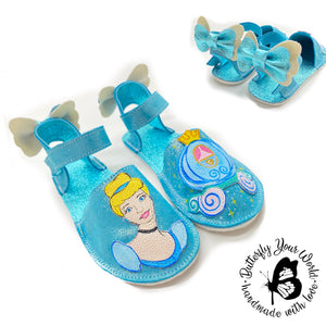 Sparkly blue princess espadrilles with rubber soles