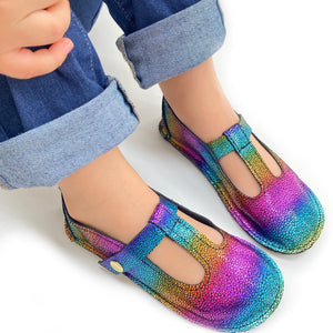 Shiny rainbow leather shoes