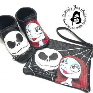 Halloween Skeleton couple - wristlet purse