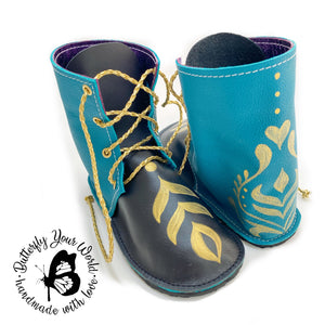 Black/teal Tall lace up princess booties