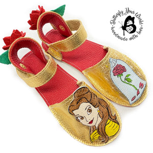 Gold princess espadrilles with rubber soles