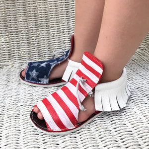 Patriotic american flag unisex sandals with rubber sole