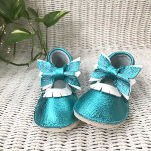 Winter princess metallic blue Moccs with rubber soles