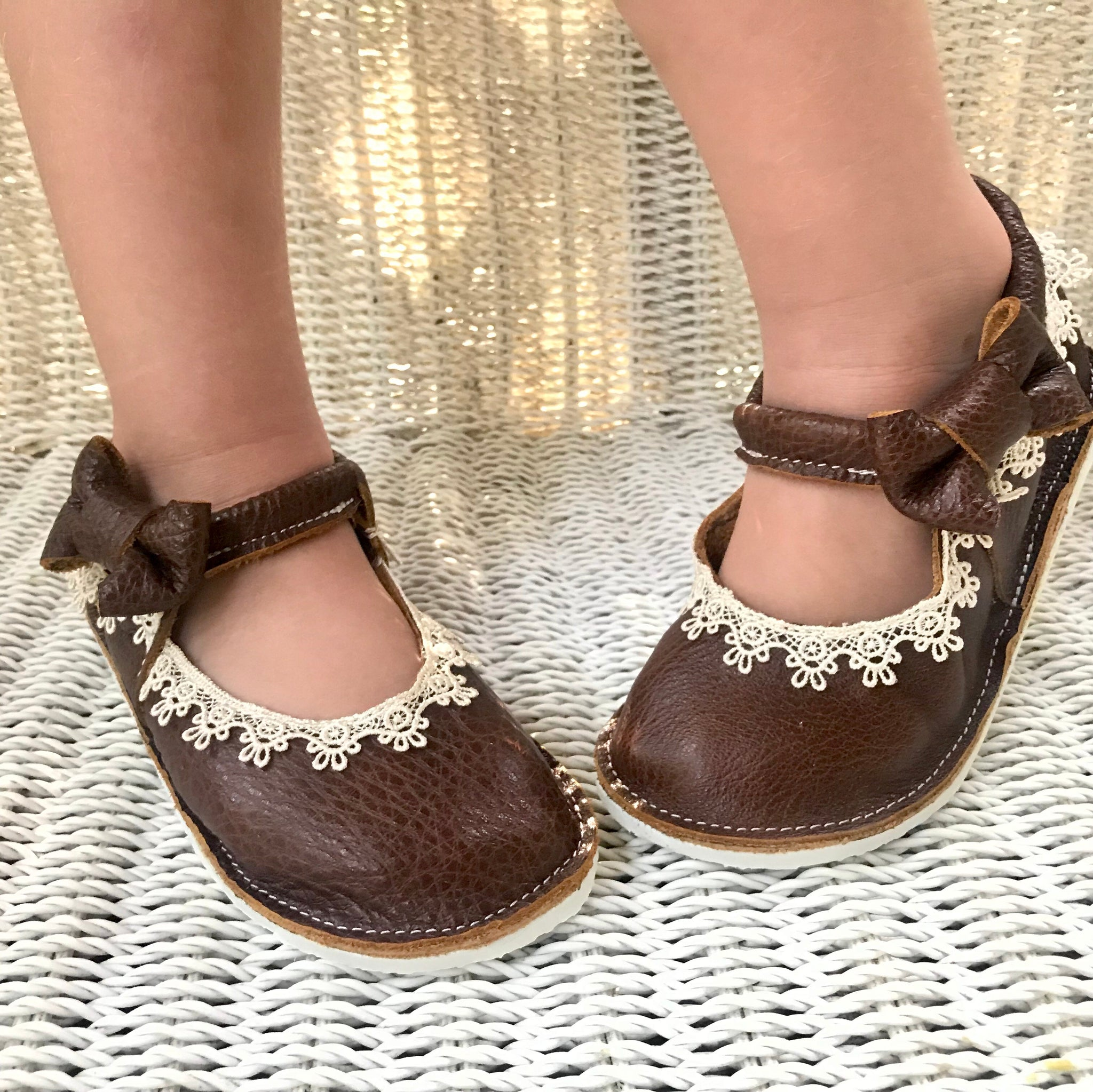 Leather and lace mary janes