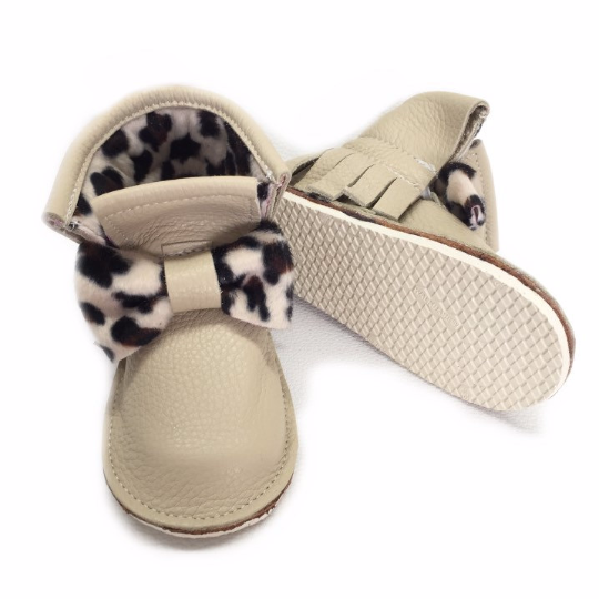 Cheetah print bow genuine leather high top moccasins, mini boots with rubber or soft sole