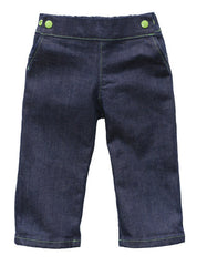 Project Pomona Eco Fit Stretch Indigo Denim Grow with Me Jeans - Green Snaps