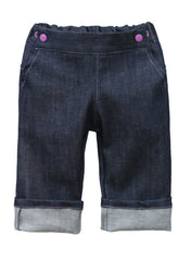 Project Pomona Eco Fit Stretch Indigo Denim Grow with Me Jeans - Purple Snaps