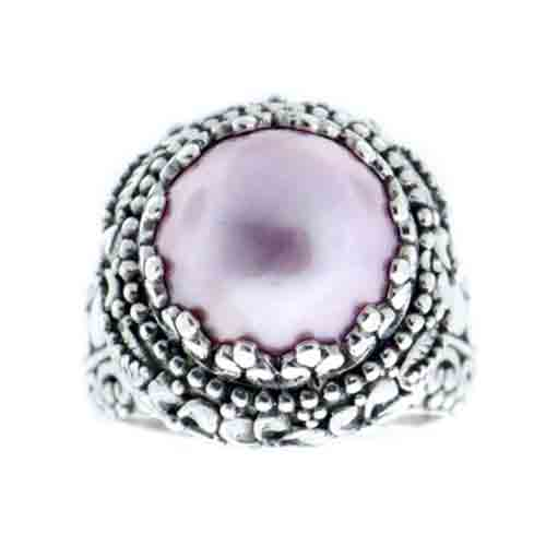 CULTURED PINK MABE PEARL RING