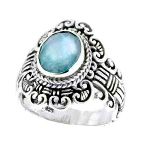 BLUE QUARTZ MOTHER OF PEARL TRIPLET RING
