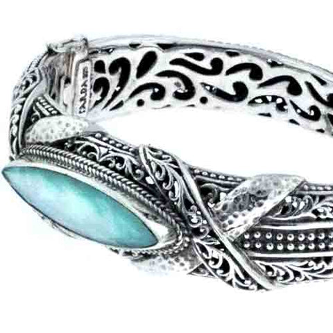 MEXICAN TURQUOISE MOTHER OF PEARL QUARTZ CUFF BRACELET