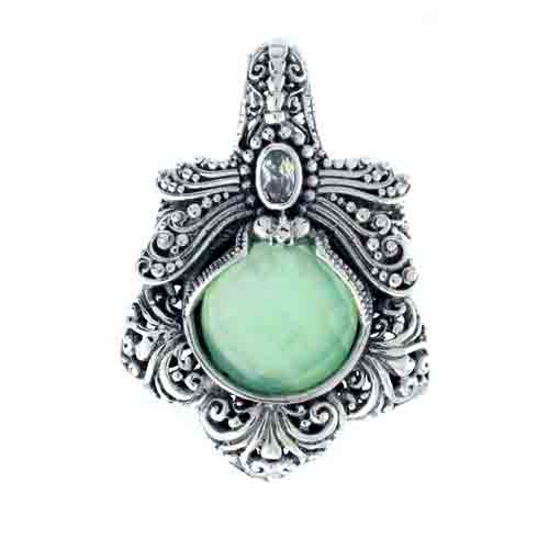 GREEN CHALCEDONY MOTHER OF PEARL QUARTZ AND WHITE TOPAZ DRAGONFLY PENDANT