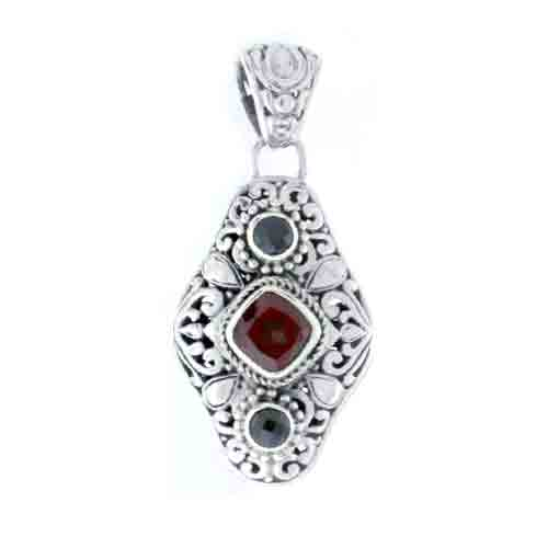 GARNET AND BLACK SPINEL PENDANT