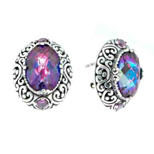 XANADU™ MYSTIC QUARTZ AND RHODOLITE GARNET STUD EARRINGS