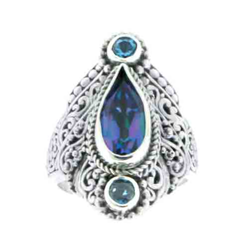 SWEET HARP™ MYSTIC QUARTZ, LONDON BLUE TOPAZ AND SWISS BLUE TOPAZ RING