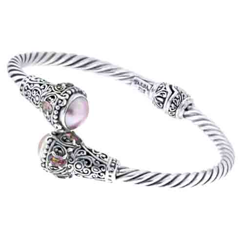CULTURED PINK MABE PEARL AND MAGNIFIQUE SUNRISE™ MYSTIC QUARTZ CABLE BRACELET