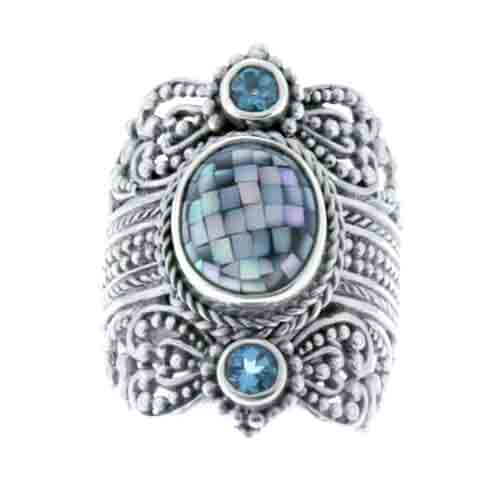 MOSSAIC GREY MOTHER OF PEARL AND SWISS BLUE TOPAZ RING