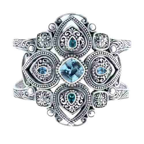CARVED BLUE TOPAZ AND GREEN PARAIBA™ MYSTIC TOPAZ CUFF BRACELET