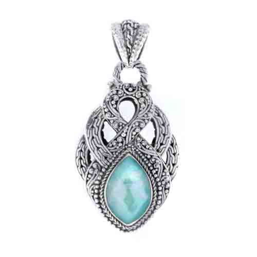 MEXICAN TURQUOISE MOTHER OF PEARL QUARTZ PENDANT