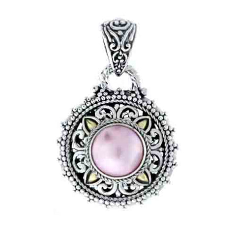 PINK MABE PENDANT WITH 18 KARAT SOLID GOLD INLAY