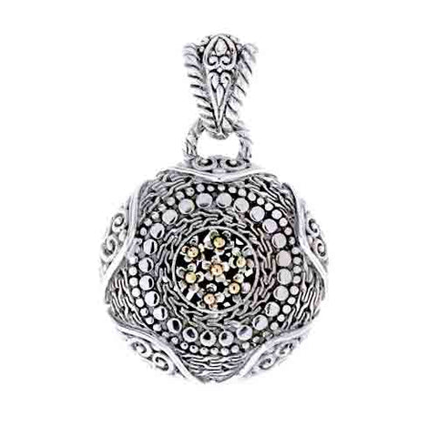 STERLING SILVER FLOWER BLOOM PENDANT WITH 18 KARAT SOLID GOLD INLAY