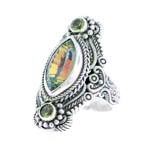 Beyond Elitism Mystic Quartz and Peridot STERLING SILVER RING