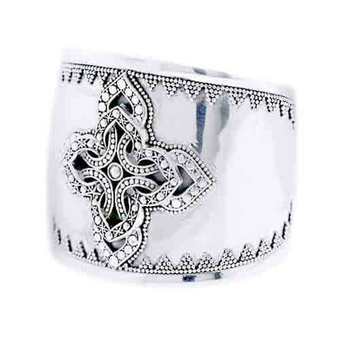 STERLING SILVER CELTIC CROSS CUFF BRACELET