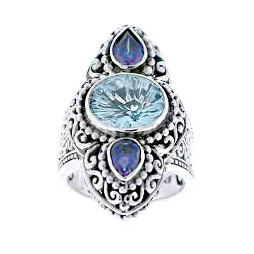 SWISS BLUE TOPAZ AND SHEER LUCK™ MYSTIC QUARTZ RING