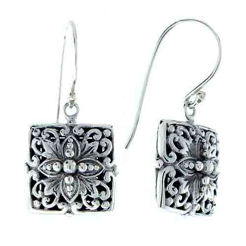 STERLING SILVER SQUARE DANGLE EARRING
