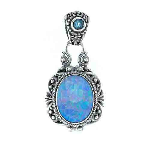 Twilight Opal Quartz& Swiss Blue Topaz Pendant