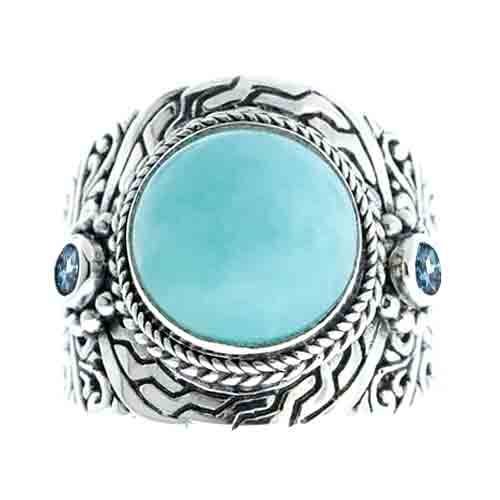 AMAZONITE AND SWISS BLUE TOPAZ STERLING SILVER RING