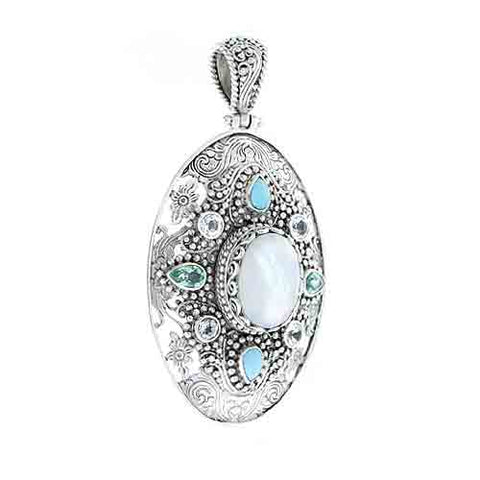 WHITE MOTHER OF PEARL QUARTZ, TURQUOISE, APATITE, AND WHITE TOPAZ PENDANT