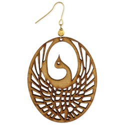 Cutout Wood Phoenix Earring