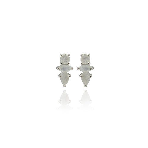 THREE STONE STERLING STUD EARRING