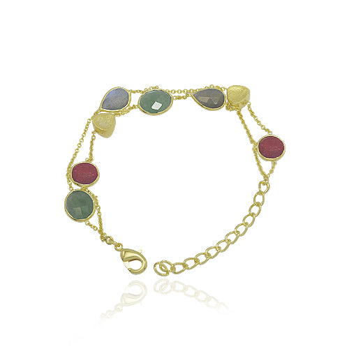 18 KARAT GOLD VERMEIL CHAIN LINK HANDMADE BRACELET, SET WITH  INDIAN RUBY, LABRADORITE AND INDIAN EMERALD