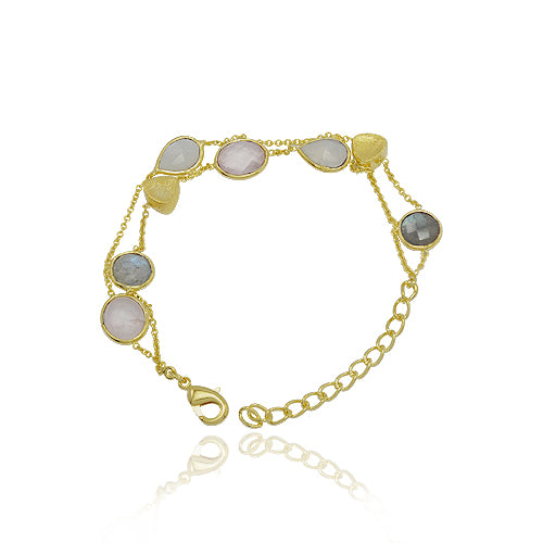 18 KARAT GOLD VERMEIL CHAIN LINK HANDMADE BRACELET, SET WITH LABRADORITE , RAINBOW MOONSTONE. AND ROSE QUARTZ.