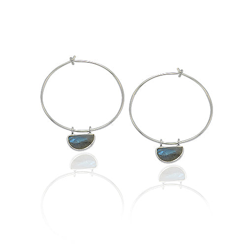 STERLING HOOP WITH BEZEL SET GEMSTONE