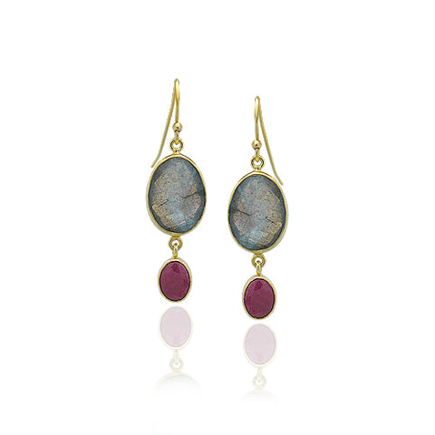 18 KARAT GOLD VERMEIL LABRADORITE AND INDIAN RUBY DANGLE EARRINGS